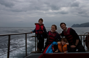 The Tysons on their Whale Watching trip. Distinct absence of Whales, Dolphins or anything else for that matter