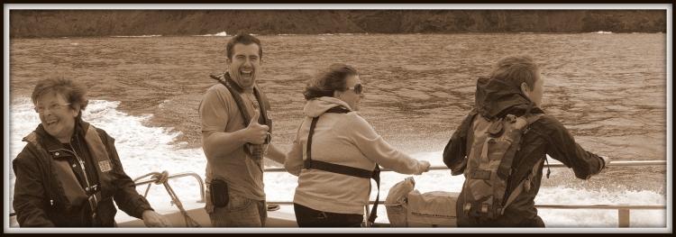 Jane (left) John, Lady Christine and Toby enjoying the exhilarating turn of speed