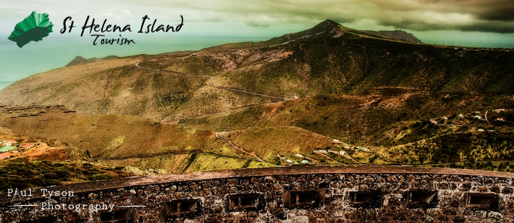 View from High Noll Fort to Flag Staff showing the haul road built by Basil Read for the Airport. The St Helena tourist office have asked if I can provide some photographs so Ive developed a watermark and will be including their logo on some on my photos in the future.