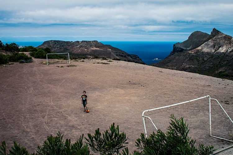 Oliver in the Worlds most remote fotball pitch