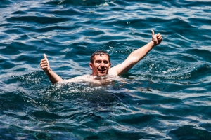 John enjoying a swim