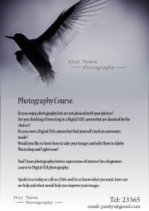One of my first new ventures as Paul Tyson Photography. Little more than five months after first picking up a camera I am offering beginners courses!