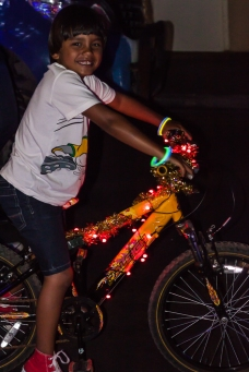 Even bikes had lights on!