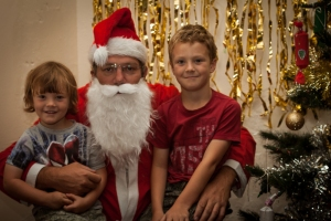 "Oliver and Charlie with ""Father Christmas"""