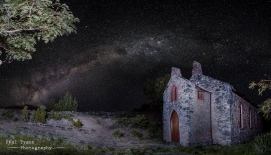 Church at Sandy Bay. This image is the result of 12 photos stitched together. The foreground is illuminated using a technique called light painting, whereby a torch is used to gently light the subject during a long exposure.