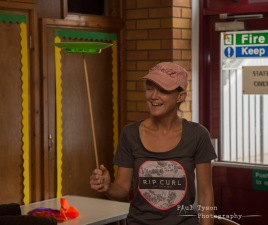 Bev couldnt resist at the childrens circus skills session.!!