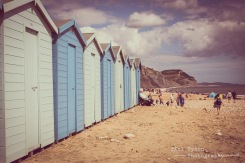 Beach huts at Charmouth Beach.