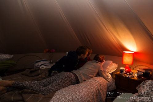 All cosy up in our lovely tent.