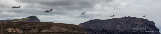 The first fly past with the Barn on the Right and Flagstaff protruding to the left.