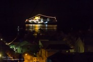 RMS St HElena with her Christmas lights, a wonderful sight in the bay.