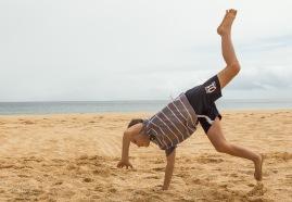 Cartwheels on the beach,